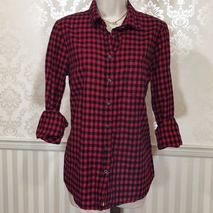 J. Crew Classic Red & Black Gingham Flannel Shirt